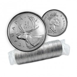 2002-P (1952-) Canadian 25-Cent Caribou/Queen's Jubilee Quarter Original Coin Roll