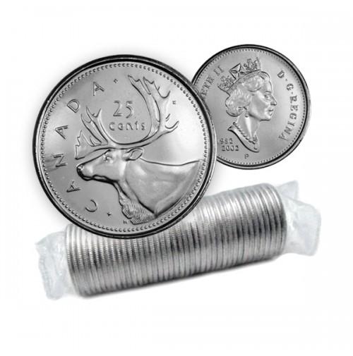 2002 P Canada Caribou 25-cent Original Coin Roll