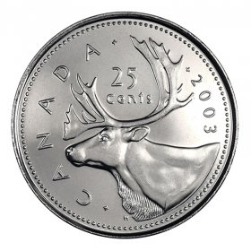2003-P Canadian 25-Cent Caribou/Old Effigy Queen Quarter Coin (Brilliant Uncirculated)