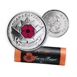 2004-P Canadian 25-Cent Remembrance Poppy Coloured Quarter Special Wrap Coin Roll