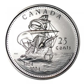 2004-P (1604-) Canadian 25-Cent Ile St Croix/First French Settlement 400th Anniv Quarter Coin (Brilliant Uncirculated)