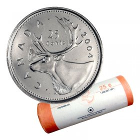 2004-P Canadian 25-Cent Caribou Quarter Original Coin Roll