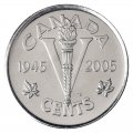 2005-P (1945-) Canadian 5-Cent Victory VE-Day 60th Anniv Nickel Special Wrap Coin Roll