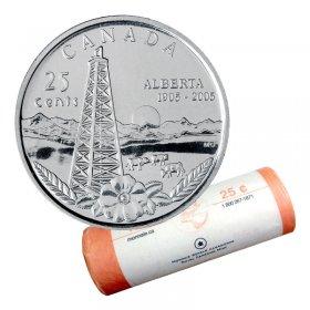 2005-P (1905-) Canadian 25-Cent Alberta Centennial Quarter Original Coin Roll