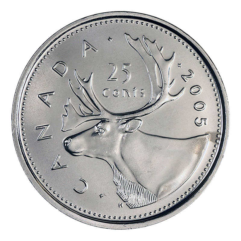 Specimen 1995-25-cents RCM Uncirculated Caribou