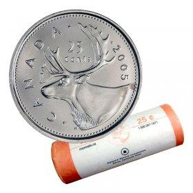 2005-P Canadian 25-Cent Caribou Quarter Original Coin Roll
