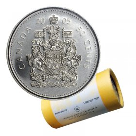 2005-P Canadian 50-Cent Coat of Arms Half Dollar Special Wrap Coin Roll