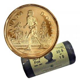 2005 Canadian $1 Terry Fox Loonie Dollar Special Wrap Coin Roll