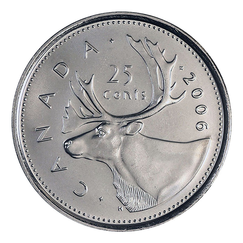 BU Canadian Caribou Quarter Canada 2016 25 cents Uncirculated from Mint roll