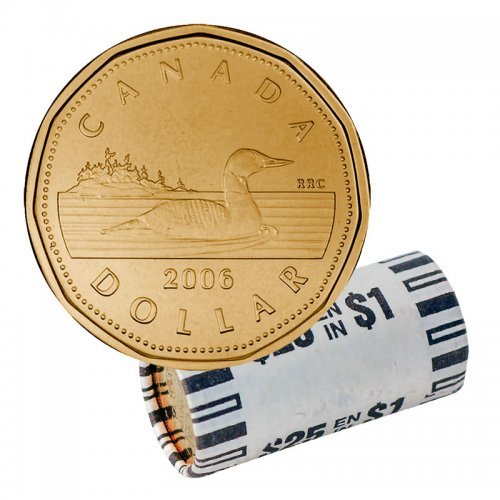 2006 Canadian $1 Common Loon Dollar, Mint Logo Original Coin Roll