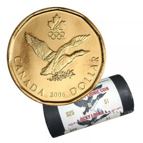 2006 Canadian $1 Olympic Lucky Loonie Dollar Special Wrap Coin Roll