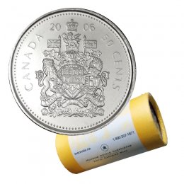 2006-P Canadian 50-Cent Coat of Arms Half Dollar Special Wrap Coin Roll