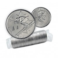 2007 Vancouver 2010 Olympics 25-cent Alpine Skiing Original Coin Roll