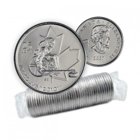 2007 Vancouver 2010 Paralympics 25-cent Wheelchair Curling Original Coin Roll