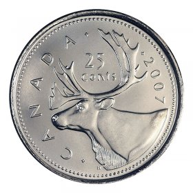 2007 Canadian 25-Cent Caribou Quarter Coin (Brilliant Uncirculated)