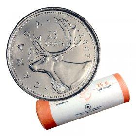 2007 Canadian 25-Cent Caribou Quarter Original Coin Roll