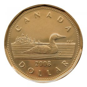 2008 Canadian $1 Common Loon Dollar Coin (Brilliant Uncirculated)