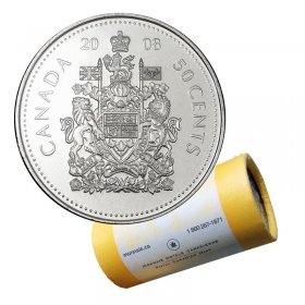 2008 Canadian 50-Cent Coat of Arms Half Dollar Special Wrap Coin Roll