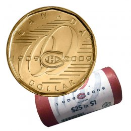 2009 (1909-) Canadian $1 Montreal Canadiens Centennial Loonie Dollar Special Wrap Coin Roll