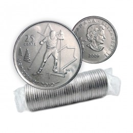 2009 Canadian 25-Cent Vancouver 2010 Olympics: Cross Country Skiing Quarter Original Coin Roll
