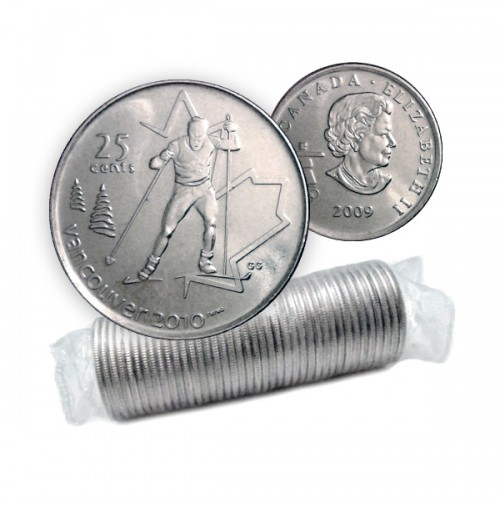 2009 Vancouver 2010 Olympics 25-cent Cross Country Skiing Original Coin Roll
