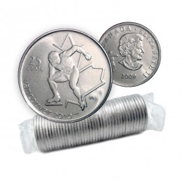 2009 Canadian 25-Cent Vancouver 2010 Olympics: Speed Skating Quarter Original Coin Roll