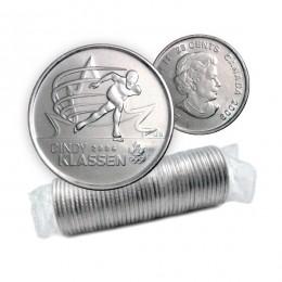 2009 Canadian 25-Cent Golden Moments: Cindy Klassen Quarter Original Coin Roll (Non-coloured)
