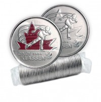 2009 Canada Golden Moments 25-cent Cindy Klassen 2006 Original Coin Roll (Some Coloured)