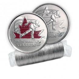 2009 Canadian 25-Cent Golden Moments: Cindy Klassen Quarter Original Coin Roll (Some Coloured)
