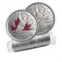 2009 Canadian 25-Cent Golden Moments: Men's Ice Hockey Quarter Original Coin Roll (Some Coloured)