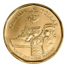 2010 (1910-) Canadian $1 Navy 100th Anniversary Loonie Dollar (Brilliant Uncirculated)