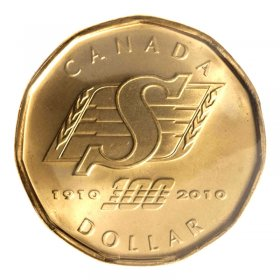 2010 (1910-) Canadian $1 Saskatchewan Roughriders Centennial Loonie Dollar (Brilliant Uncirculated)