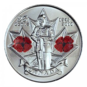 2010 (1945-) Canadian 25-Cent Remembrance Poppy/WWII 65th Anniv Coloured Quarter Coin (Brilliant Uncirculated)