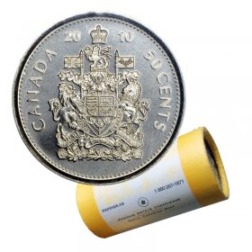 2010 Canadian 50-Cent Coat of Arms Half Dollar Special Wrap Coin Roll