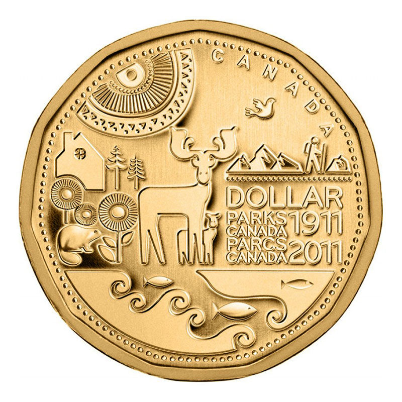 2011 CANADA 1 DOLLAR PARKS CANADA 100TH ANNIVERSARY UNC