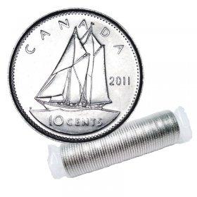 2011 Canadian 10-Cent Bluenose Schooner Dime Original Coin Roll