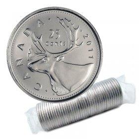 2011 Canadian 25-Cent Caribou Quarter Original Coin Roll