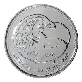 2011 Canadian 25-Cent Legendary Nature: Orca Whale Non-coloured Quarter Coin (Brilliant Uncirculated)