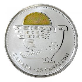 2011 Canadian 25-Cent Legendary Nature: Peregrine Falcon Coloured Quarter Coin (Brilliant Uncirculated)