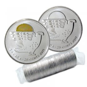 2011 Canadian 25-Cent Legendary Nature: Peregrine Falcon Quarter Original Coin Roll (Some Coloured)