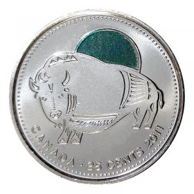 2011 Canadian 25-Cent Legendary Nature: Wood Bison Coloured Quarter Coin (Brilliant Uncirculated)