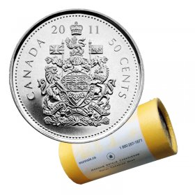 2011 Canadian 50-Cent Coat of Arms Half Dollar Special Wrap Coin Roll