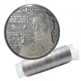 2012 Canadian 25-Cent Heroes of 1812: Sir Isaac Brock Non-coloured Quarter Original Coin Roll