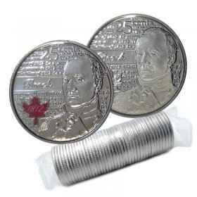 2012 Canadian 25-Cent Heroes of 1812: Sir Isaac Brock Quarter Original Coin Roll (Some Coloured)