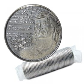 2012 Canadian 25-Cent Heroes of 1812: Tecumseh Non-coloured Quarter Original Coin Roll