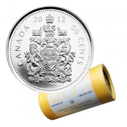 2012 Canadian 50-Cent Coat of Arms Half Dollar Special Wrap Coin Roll