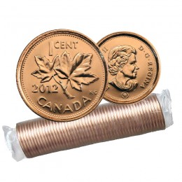 2012 MAGNETIC Canadian 1-Cent Maple Leaf Twig Penny Original Coin Roll