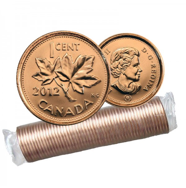 2012 NON-MAGNETIC Canada 1 Cent Small, Penny Original Coin Roll