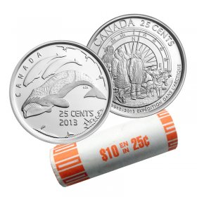 2013 (1913-) Canadian 25-Cent Arctic Expedition 100th Anniv/Life In The North Quarter Original Coin Roll