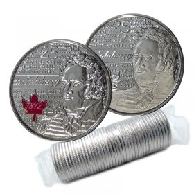 2013 Canadian 25-Cent Heroes of 1812: Charles-Michel de Salaberry Quarter Original Coin Roll (Some Coloured)